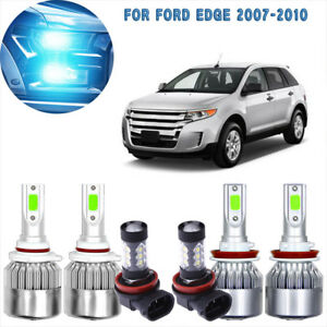 6pcs Cob Led Headlight fog Light Kit For Ford Edge 07 2010 8000k Ice Blue Bulb