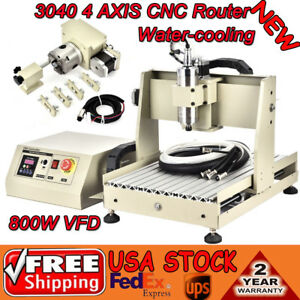 4 Axis Cnc Router Engraver Drilling Milling Machine 3d Engraving Vfd 800w 3040