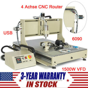 4 Axis Cnc Router 6090 Engraver Usb 2200w Wood Carving Engraving Milling Machine