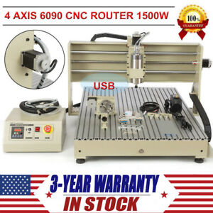 4 Axis Cnc 6090 Router Engraver Usb 1500w Engraving Drilling Milling Machine Kit