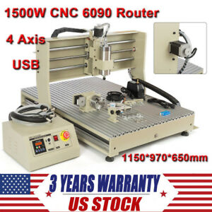 4 Axis Cnc 6090 Router Engraver Usb 1500w Vfd Engraving Milling Drilling Machine