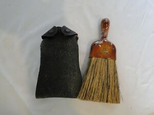 Antique Metal Handled Whisk Broom With Leather Case Possible Horse Hair