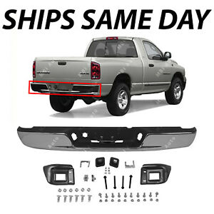 Brand New Steel Chrome Rear Step Bumper Assembly For 2002 2003 Dodge Ram 1500