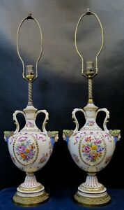 Vintage Early 20th Century Paris Porcelain Table Lamps Pair