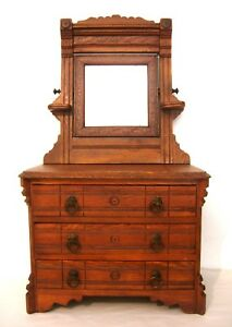 Salesman S Sample Victorian Oak Dresser With Mirror Child S Size Original Finish