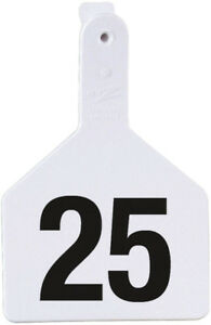 Z Tags Cow Ear Tags White Numbered 101 125