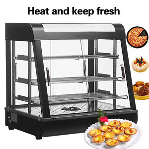 Commercial Food Warmer Court Heat Food Pizza Display Warmer Cabinet 27 Glass Io