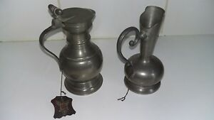 Pewter 95 Italian Lidded Jug And Pourer Lavorazione A Mano Stamped Label 6