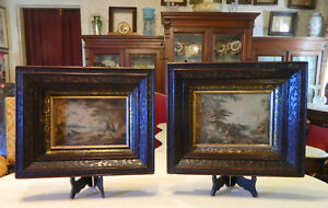 Pair Walnut Victorian Relief Carved Picture Frames