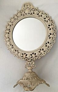 Exquisite Old Vintage Mirror Tilts On Stand Ornate Cast Metal Antique White