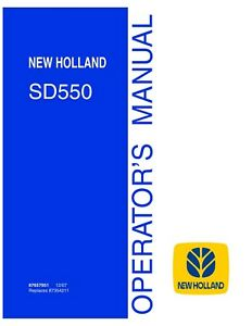 New Holland Sd550 Air Hoe Drill Planting Seeding Operators Manual