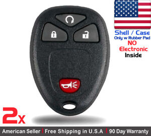 2x New Replacement Keyless Entry Remote Key Fob Case For Chevrolet Gmc Shell