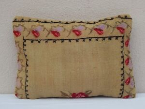Floral Needlepoint Tapestry Aubusson Large Kilim Rug Pillow Cover 14 X 20