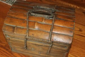 Vintage Bamboo Wooden Sewing Or Craf Box Primitive Fishing Box Chest Philippines