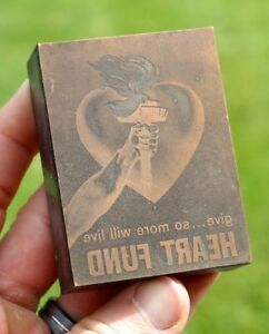 Vintage Heart Fund Hand Torch Flames Fire Blood Letter Press Type Printing Block
