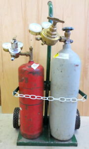 Oxygen acetylene Tanks With Gages And Cart