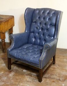 Vintage Blue Chippendale Chesterfield Wingback Leather Chair Tufted Button Nice