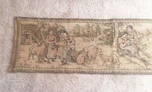 Antique Charming Tapestry Wall Hanging Women Children French 54 In X 15 In