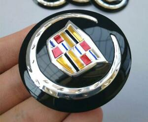 Cadillac Steering Wheel Car Hood Emblem Black 56mm Caddie Logo Sticker Z7qq