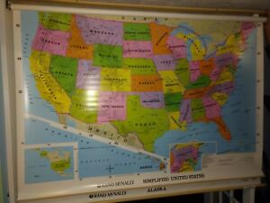 Rand Mcnally School Pull Down Map Of The United States And Alaska