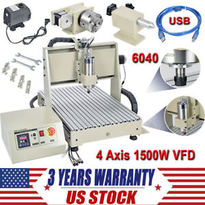 4 Axis Cnc 6040t Router Engraver Usb 3d Engraving Drilling Milling Machine 1500w