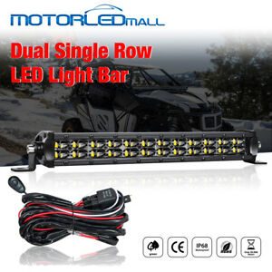 Single Row Led Light Bar 12inch Slim Work Offroad Driving Ford Jeep Suv Wiring