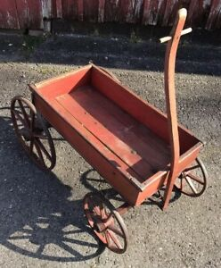 Antique Painted Childs Wagon 19c