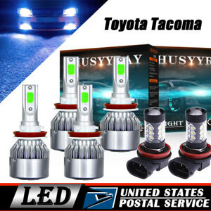 6x Cob Led Headlight Hi lo fog Light 8000k Ice Blue Bulb For Toyota Tacoma 16 18