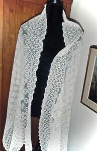 Price Drop Antique Tambour Lace Bridal Veil Or Shawl From The Late 1800s