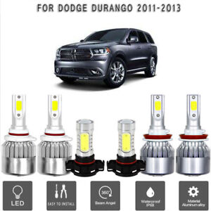 6x Cob Led Headlight fog Light Set White 6000k Bulb For Dodge Durango 2011 2013
