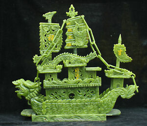 Certified 100 China Dushan Green Jade Hand Carved Dragon Boat Statue Sculpture