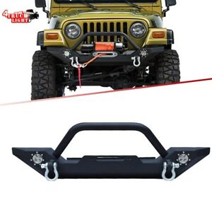 Front Bumper Winch Plate D Ring Rock Crawler For 1997 2006 Jeep Wrangler Tj