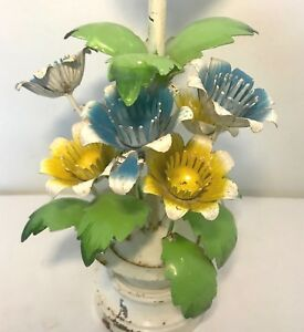 Vtg Tole Painted Metal Italian Table Flower Lamp Mid Century White Blue Green