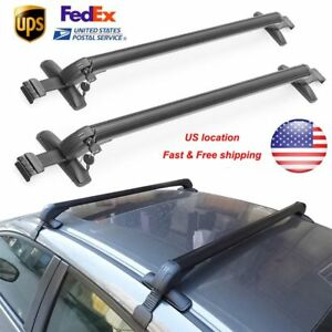 Us 2 Universal Car Suv Top Rack Rail Luggage Carrier Baggage Roof Cross Bar Kit
