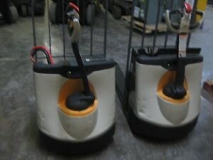 Two 2 Crown Wp2345 45 Electric Pallet Jack 48 Forks Reconditioned Battery