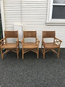 Mid Century Bamboo Chair Mcguire Or Style Arm Chairs Lot Of 3