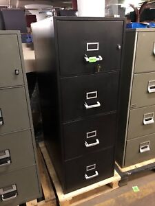 4 Drawer Legal Size Fire proof File Cabinet In Black Color W lock