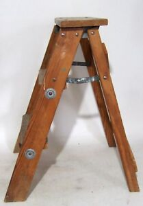Vintage Rustic Primitive Farm Country Wooden Step Ladder Folding Stool