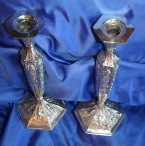 Gorgeous Detailed Pair Of Silver Plated Repousse Candle Sticks Dutch 1800 S