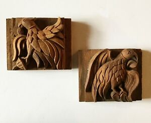 Pair Of Carved Phoenix Architectural Salvage Hand Carved Wood