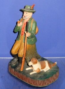 Swiss Black Forest Carved Incense Burner Smoker Hunter With Rifle