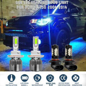 4x 8000k Ice Blue Cob Led Headlight Hi lo fog Light Set For Ford F 150 2004 2014