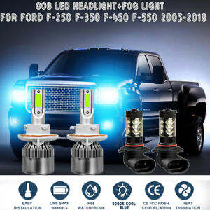 4x Cob Led Headlight fog Light For Ford F 250 350 450 550 05 2018 8000k Ice Blue