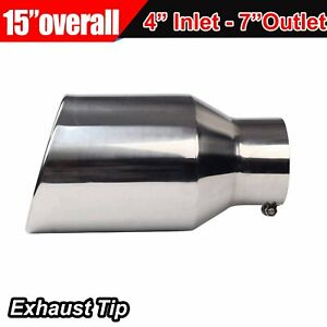8 Outlet 5 Inlet Chrome Stainless Steel 15 Long Bolt On Diesel Exhaust Tip