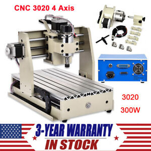 4 Axis Cnc 3020 Router Engraver 300w Wood Carving Engraving Milling Machine Kit