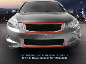 Black Billet Grille Front Combo Grill For 2008 2010 Honda Accord Sedan