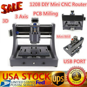 Mini 3 Axis Cnc 1208 Engraving Machine Pcb Milling Wood Carving Router Kit Mill