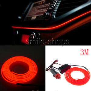 3m Red Car Interior Led Trim Door Panel Decorative Atmosphere Cold Light Strip