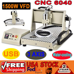 Usb 3 Axis 6040 Cnc Router Engraver Milling Machine Engraving Drilling 1500w Vfd