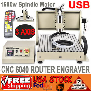Usb 3 Axis 6040 1500w Cnc Router Engraver Metal Woodworking Drilling Machine rc